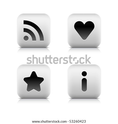 White stone matted web button navigation set on white - stock vector