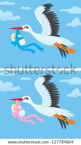 White stork flying and carrying a newborn child, versions for girls and boys - stock vector