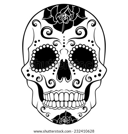 Black And White Sugar Skull Designs White Sugar Skull With Floral