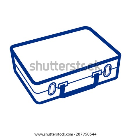 White suitcase isolated on white background - stock vector