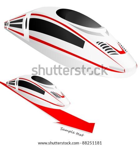 White super high speed train. VECTOR - stock vector