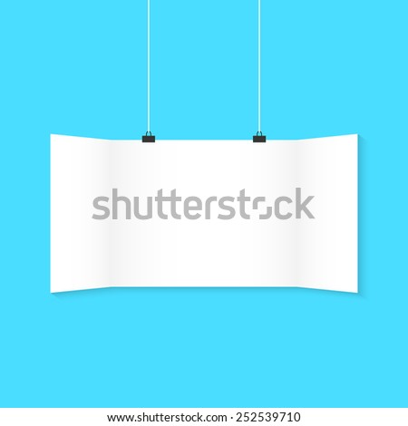 white surround hanging poster on blue background. concept of advertising poster, promotion, advertisement, announcing, public relations. flat style trendy modern silhouette design vector illustration - stock vector