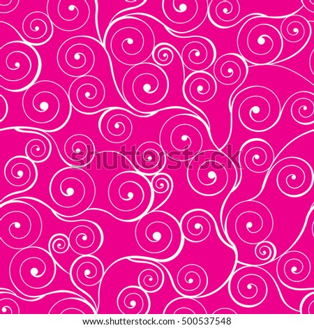 White swirls seamless pattern on pink background. Vector illustration.