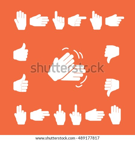White Symbols Hands.Set of hands showing various expressions. Professional icons for print or Web. EPS10 vector.