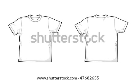 White T-shirt - back and front - stock vector