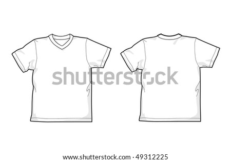 White T-shirt - back and front, V-neck - stock vector