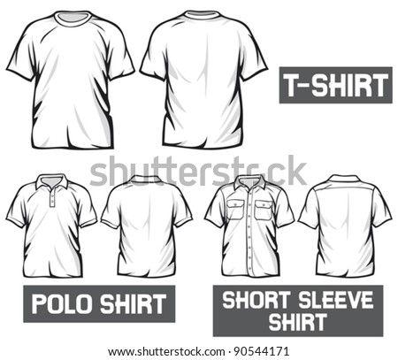 white t-shirt, short sleeve shirt and polo shirt - stock vector