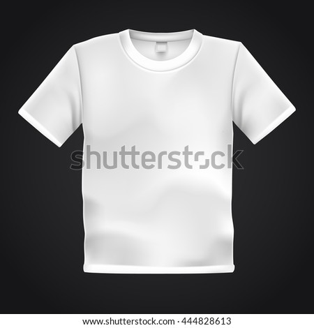 White T-shirt template isolated on black background. Blank  t shirt for any print template. Clothing store concept. Vector illustration.