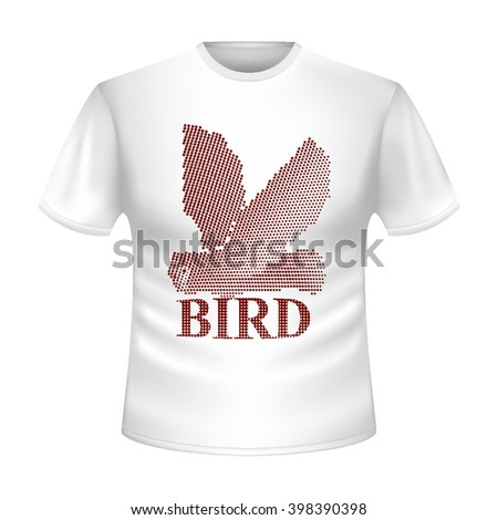 """White t-shirt with the image of the flying red owl. Abstract bird made in the technique small points, circles. Bright t-shirt with short sleeves with the red inscription """"bird"""". Icon. Logo. Vector. - stock vector"""