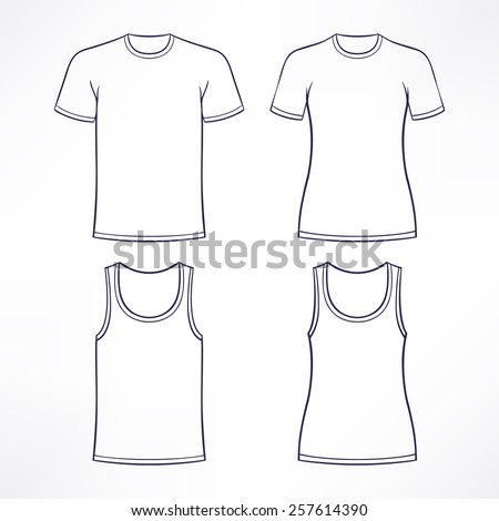 white t-shirts for men and women - stock vector