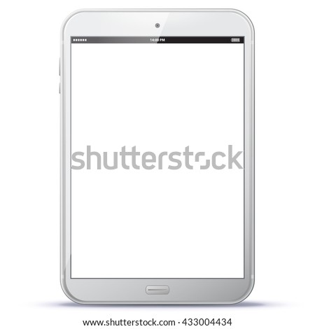 White Tablet Computer Vector Illustration.