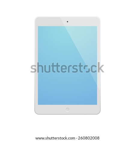 White Tablet Computer with blue display. Illustration Similar To iPad. - stock vector