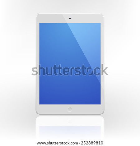 White Tablet Computer with blue screen and reflection.  Illustration Similar To iPad