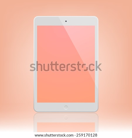 White Tablet Computer with peach display and reflection.  Illustration Similar To iPad. - stock vector