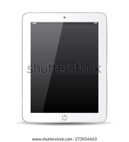 White tablet icon, abstract model