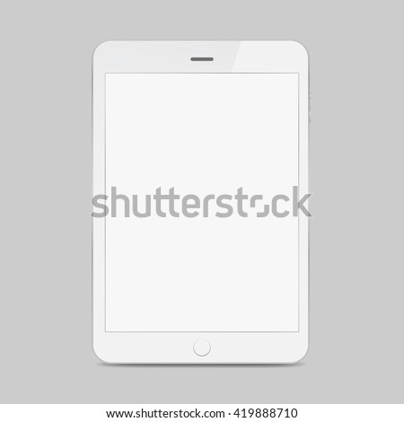 White tablet icon with shadow