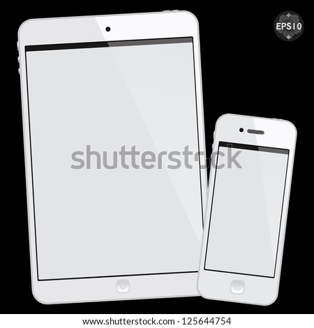 White tablet mini and smart phone on black background, vector - stock vector