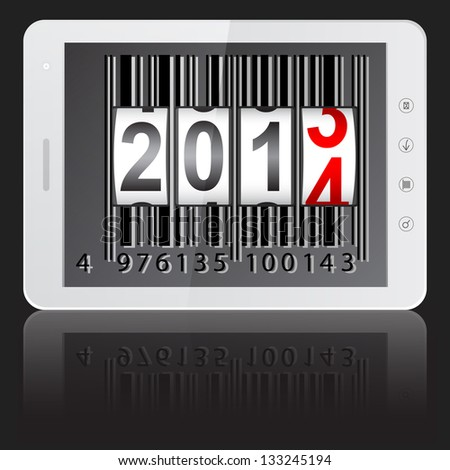 White tablet PC computer with 2014 New Year counter, barcode isolated on black background. Vector  illustration. - stock vector
