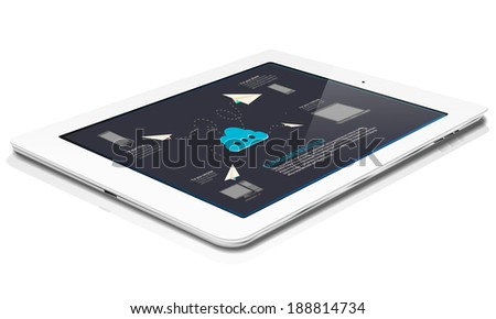 White tablet with abstract cloud graphics on display - isolated on white - stock vector