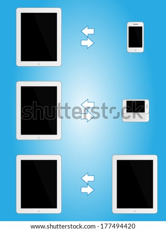 White Tablets Sharing Information with other Mobile Devices - stock vector