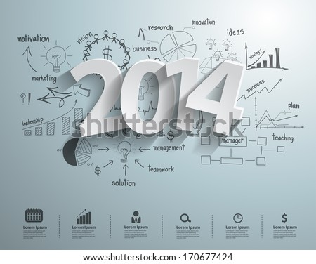 White tags with 2014 text design on with creative drawing business success strategy plan idea, Inspiration concept modern design template workflow layout, diagram, step up options, Vector illustration - stock vector