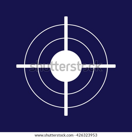 White target icon vector illustration. Blue background