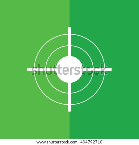 White target sign vector illustration. Green background - stock vector