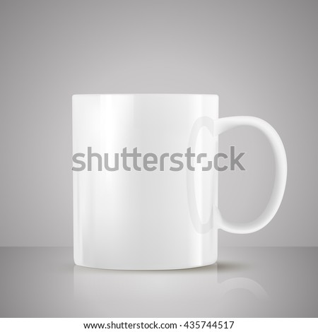 white tea cup realistic vector on grey background