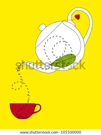 White teapot pouring tea into purple cup isolated on yellow background - vector illustration - stock vector
