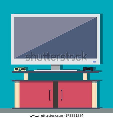 White televisor, in a flat design