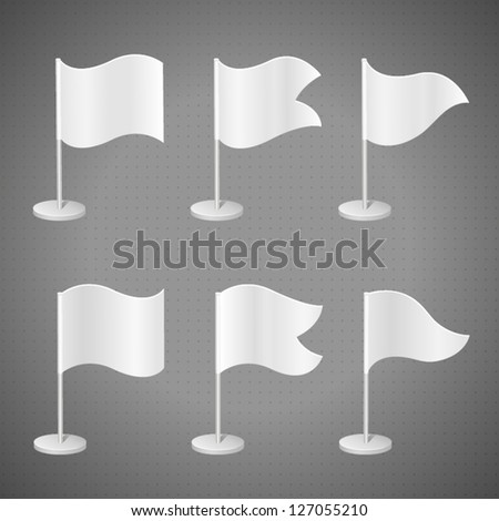 White template flags on stand, detailed vector 3d illustration - stock vector