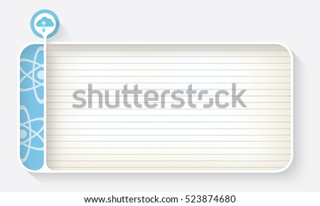 White text box for your text with lined paper and cloud symbol
