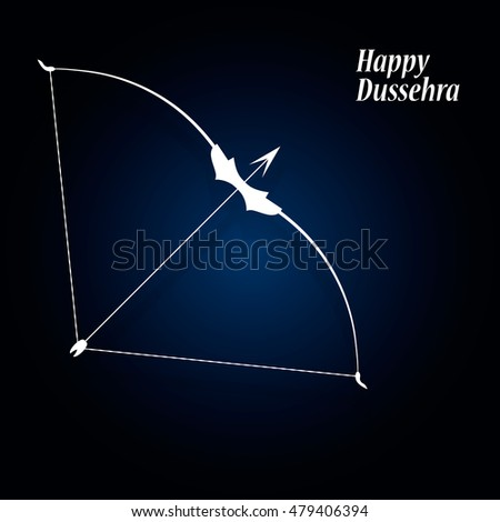 White text Happy Dussehra festival Indian with a bow on a blue background. Vector illustration EPS 10