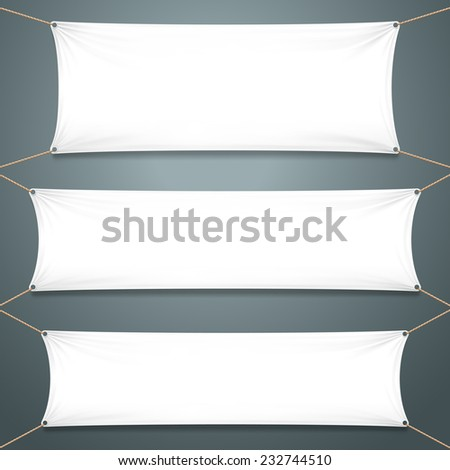 White Textile Banners on the gray background. Template Ready for Your Text and Design. Vector illustration - stock vector