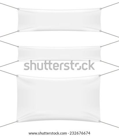 White textile banners set isolated on white background, vector illustration  - stock vector