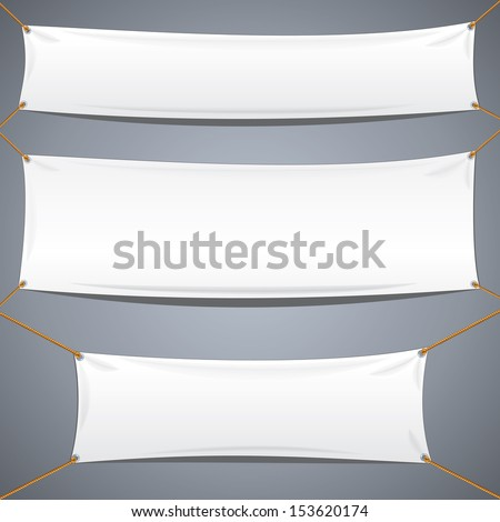 White Textile Banners. Vector Template Ready for Your Text and Design. - stock vector