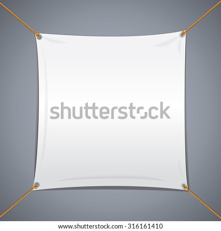White Textile Vector Banner. Abstract Template Ready for Your Text and Design. - stock vector