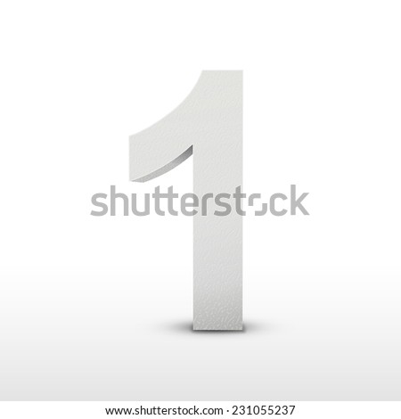 white texture number one isolated over white background