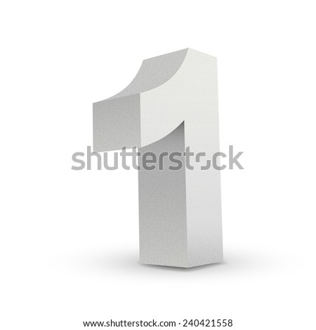 white texture number one isolated over white background - stock vector