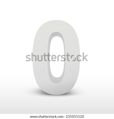 white texture number zero isolated over white background - stock vector