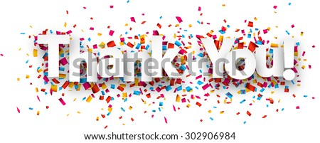 White thank you sign over confetti background. Vector holiday illustration.  - stock vector