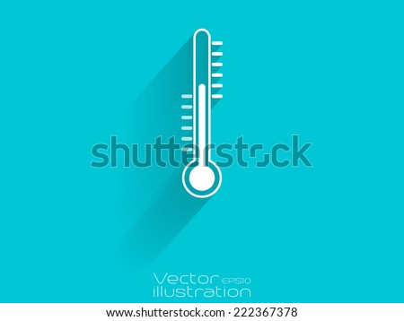 White thermometer icon on blue background - EPS10 - stock vector