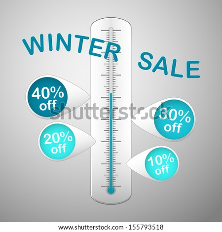 white thermometer with text winter sale and with four blue colored pins promotion discounts - stock vector