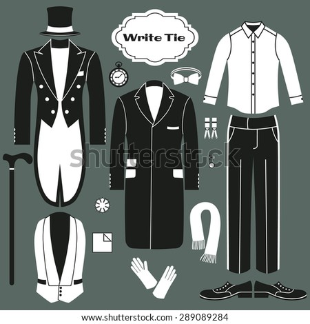 White Tie. Set of clothing for men. Dress code for gentlemen.