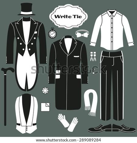 White Tie. Set of clothing for men. Dress code for gentlemen. - stock vector