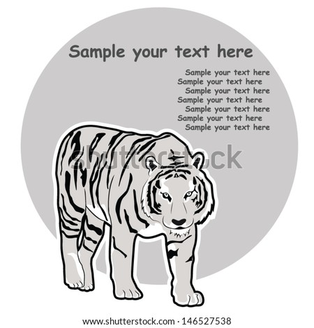 White Tiger Symbol, Vector Picture Background - stock vector