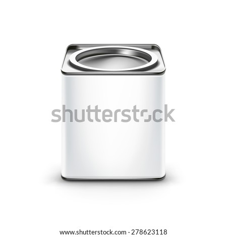 White tin box packaging container for tea or coffee isolated vector illustration - stock vector