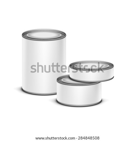 White tin box packaging container set for tea, coffee or canned tinned preserves food isolated vector illustration - stock vector