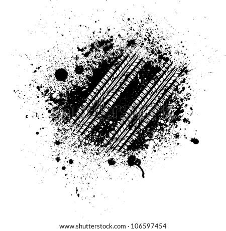White tire track mark on black splash - stock vector