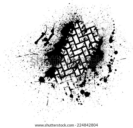White tire track on black ink blots. eps10 - stock vector